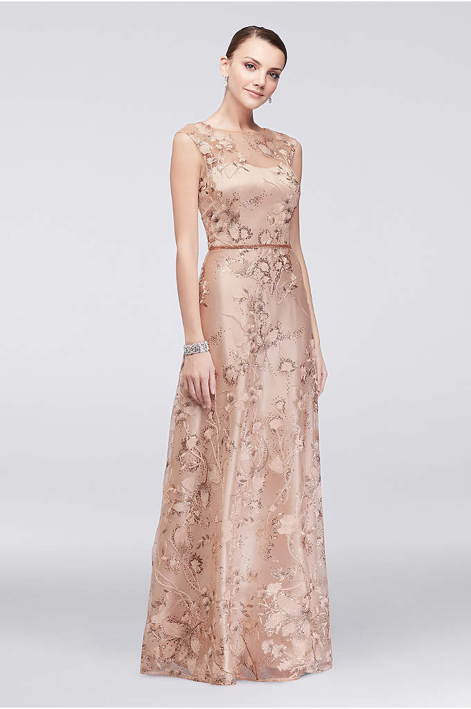 Floral-Embroidered Illusion Ball Gown with Sequins - This light-and-airy ball gown is given an ethereal