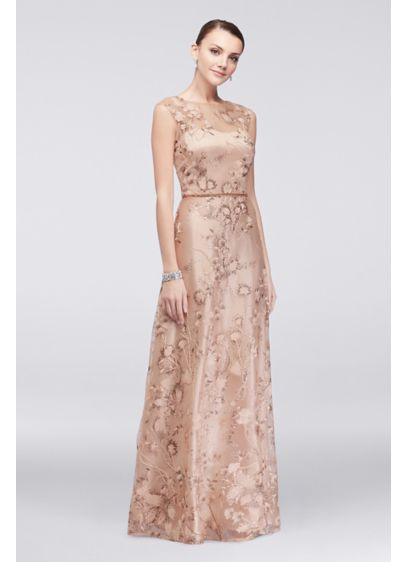 Floral Embroidered Illusion Ball Gown With Sequins