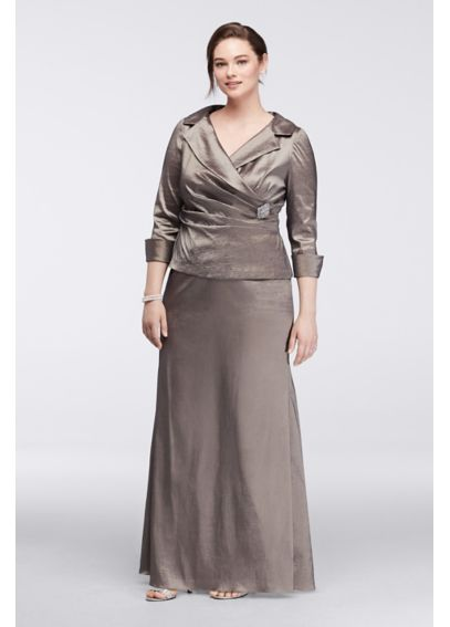 Long Mock Two-Piece Dress with 3/4 Sleeves ES9880DB