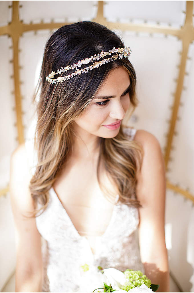 14k Gold and Crystal Double-Strand Halo - Crafted of 14k gold leaves and dainty crystals