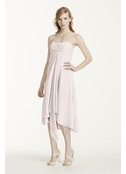 High Low Orange Soft & Flowy David's Bridal Bridesmaid Dress