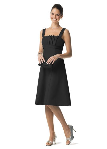 Faille Dress with Pleat Neckline and Satin Straps F12942
