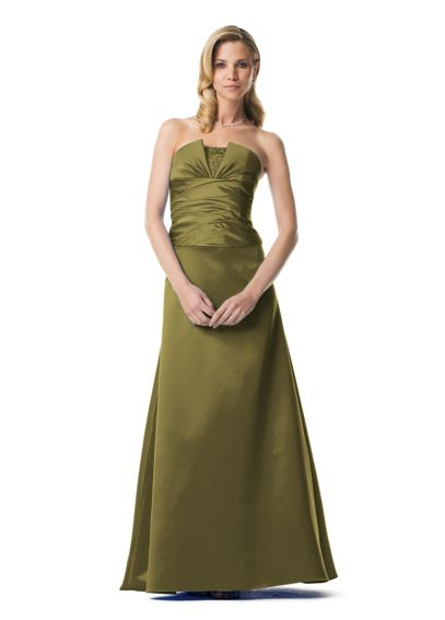 Strapless Satin Gown with Bodice and Ruched Bust F13062
