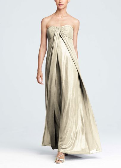 Fog Foil Split Front A-Line Dress with Beading F13092