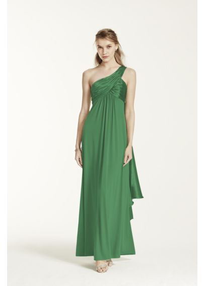 One-Shoulder Long Jersey Dress with Cascade Back F13185