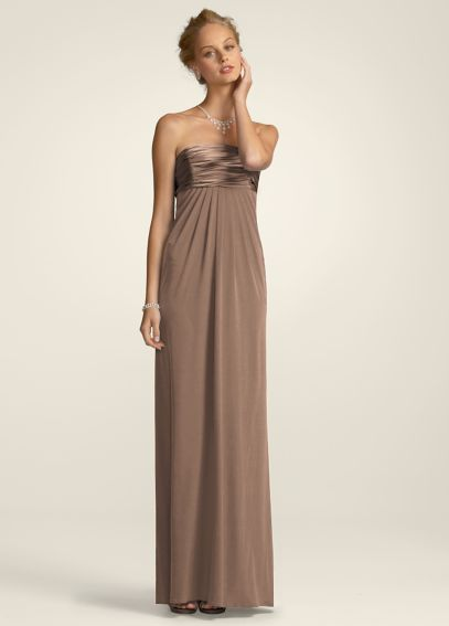Strapless Jersey A-line with Ruched Charmeuse Bust F13291