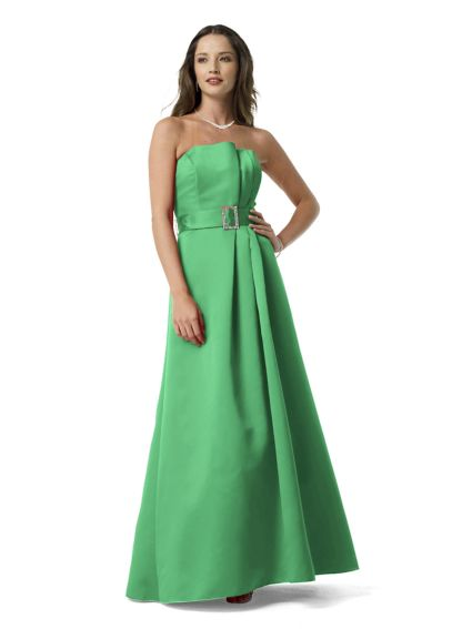 Satin Strapless Ballgown with Rhinestone Belt F13920