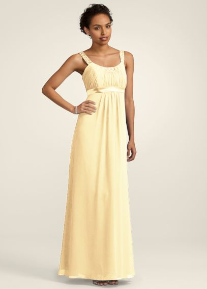Chiffon Dress with Beaded Neckline and Straps F14006
