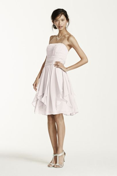 Strapless Chiffon Dress with Layered Skirt | David's Bridal