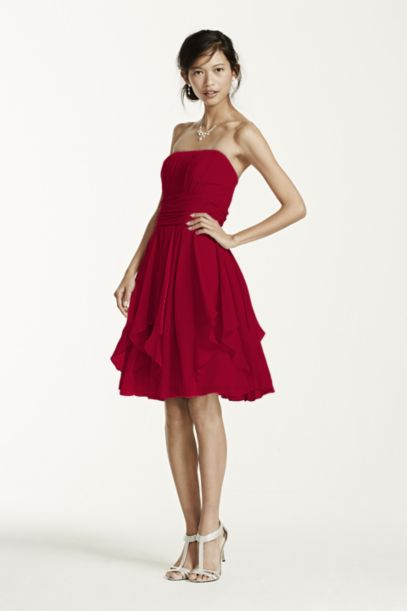 Strapless Chiffon Dress with Layered Skirt - Davids Bridal