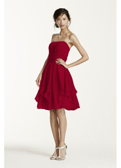 Strapless Chiffon Dress with Layered Skirt F14169