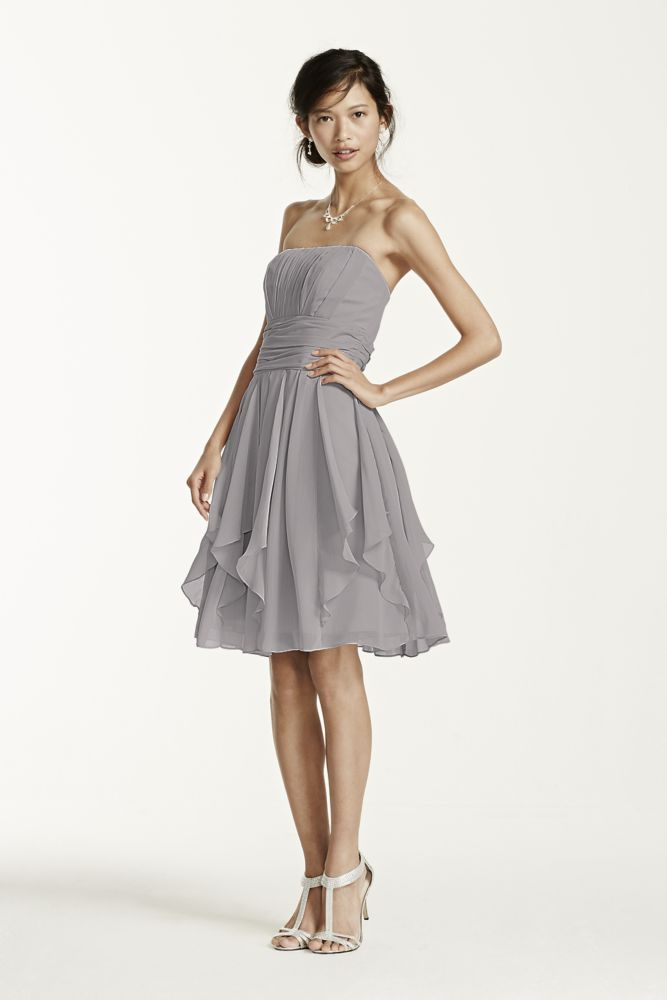 Strapless Chiffon Dress with Layered Skirt Style F14169 | eBay