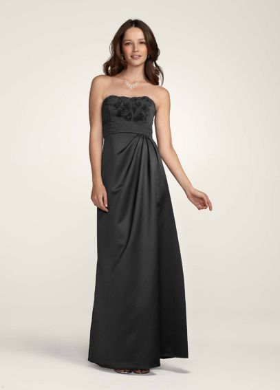 Satin Long Dress with Chiffon Floral Bodice  F14207