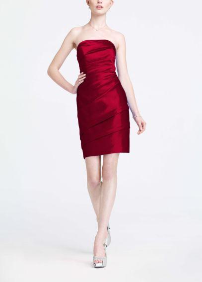 Short Pleated Satin Strapless Dress | David's Bridal