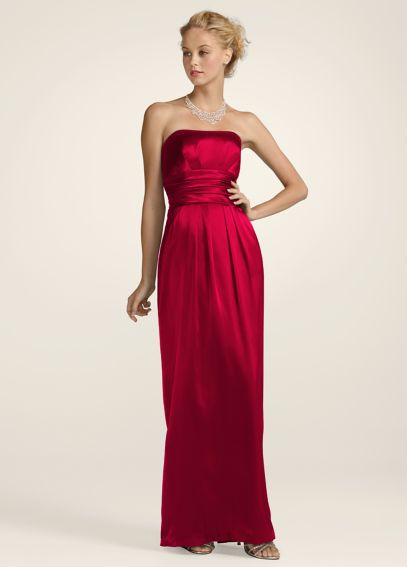 Strapless Slim Charmeuse Gown with Ruched Waist F14227