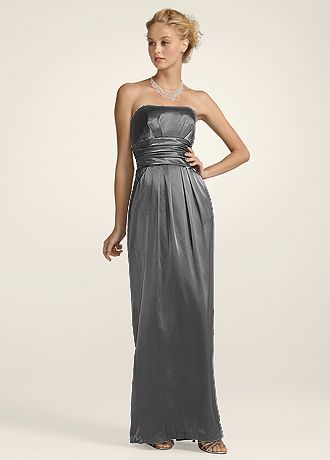 Strapless Slim Charmeuse Gown with Ruched Waist