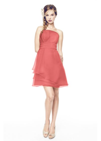 Short Strapless Organza Dress with Ruched Waist F14335