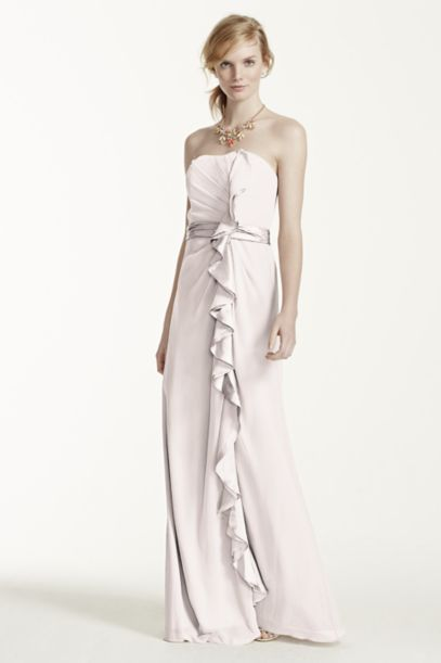 Long Strapless Dress with Front Ruffle Cascade   David's Bridal