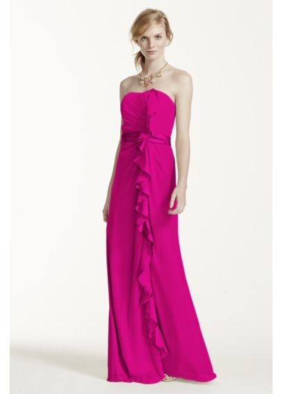 Long Strapless Dress with Front Ruffle Cascade F14336