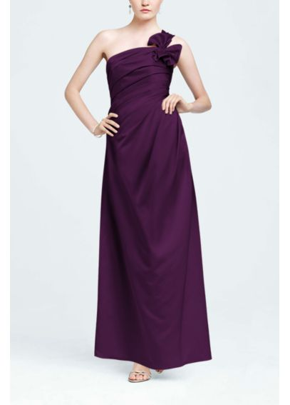 One Shoulder Satin Ballgown with Fan Detail F14430