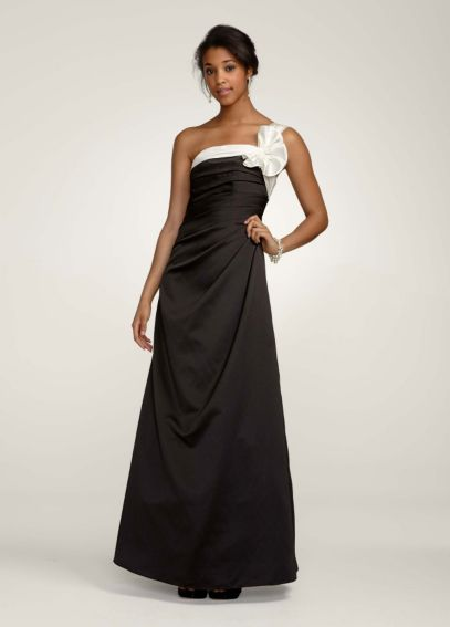 One Shoulder Satin Ballgown with Fan Detail F14430Black/Ivory
