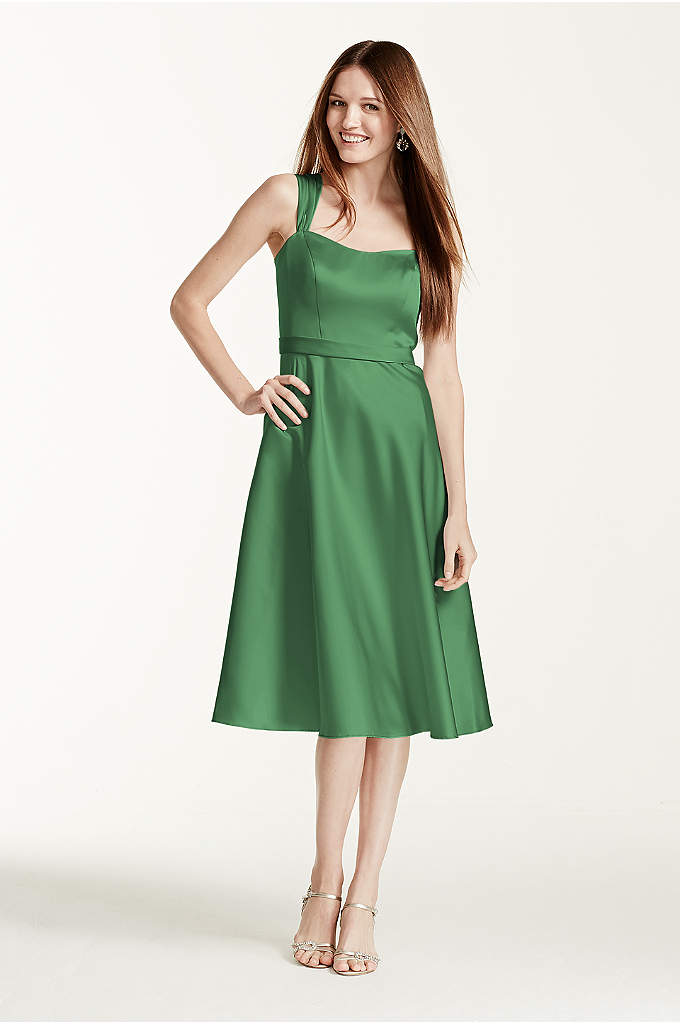 Satin Wide Strap Tea Length Dress - Vintage-inspired, this satin style combines modern sophistication with
