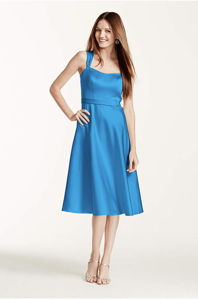 Satin Wide Straped Tea Length Dress - Vintage-inspired, this satin A-Line style combines modern sophistication