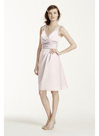 Short Pink Structured David's Bridal Bridesmaid Dress