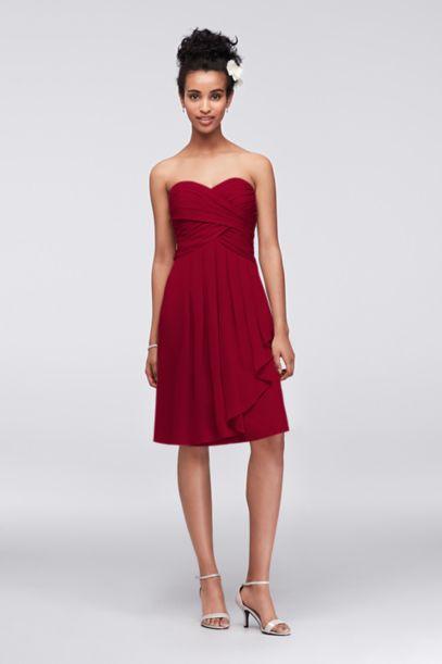 Short Crinkle Chiffon Dress with Front Cascade - Davids Bridal