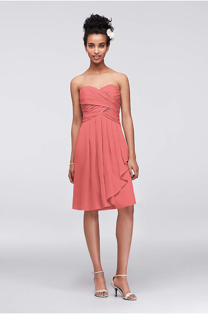 Short Crinkle Chiffon Dress with Front Cascade - This strapless style is great for a bridesmaid