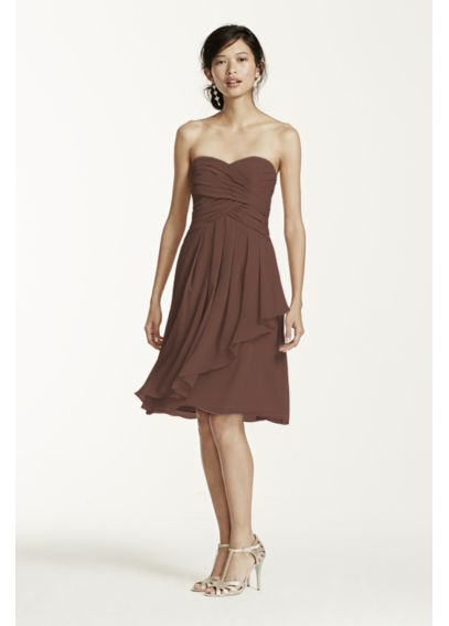 Strapless Crinkle Chiffon Dress with Front Cascade F14847