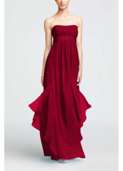 Strapless Crinkle Chiffon Dress with Godets F14865