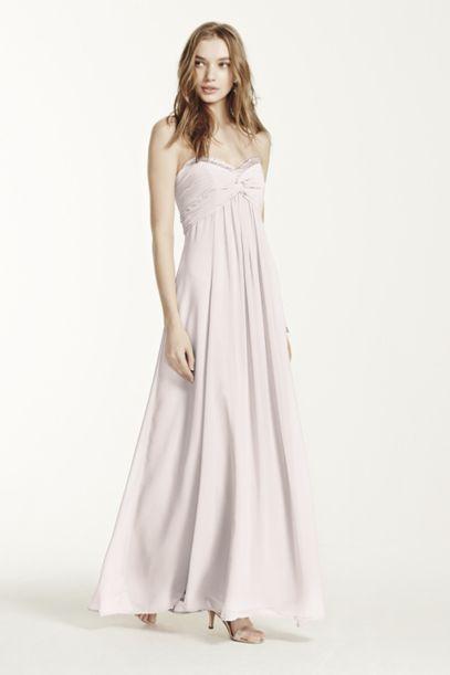 Sheer Long Chiffon Dress with Sweetheart Neckline | David's Bridal