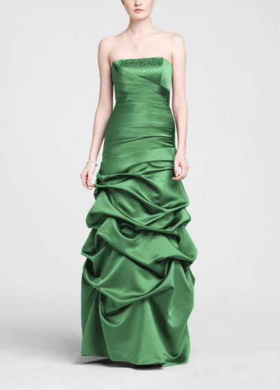 Strapless Satin Pick Up Ball Gown with Beaded Bust F14926