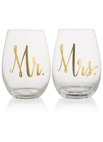 Yellow (Mr and Mrs Stemless Wine Glasses)