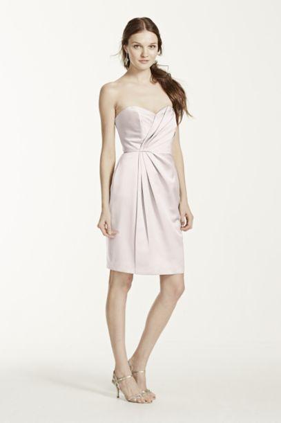 Short Strapless Satin Dress with Pleating | David's Bridal