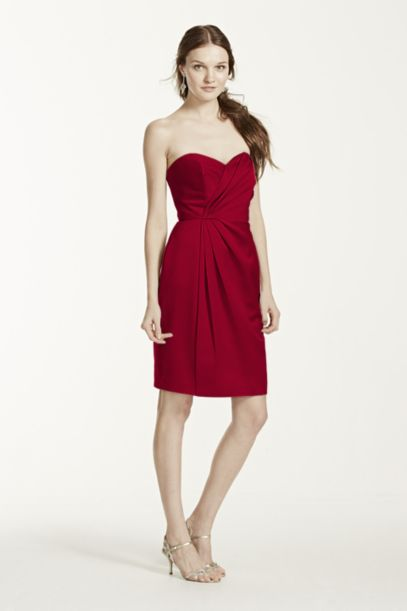 Short Strapless Satin Dress with Pleating - Davids Bridal