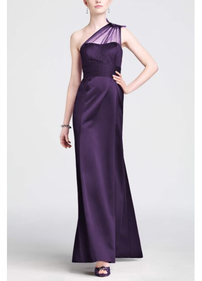One Shoulder Satin Dress with Beaded Detail F15133