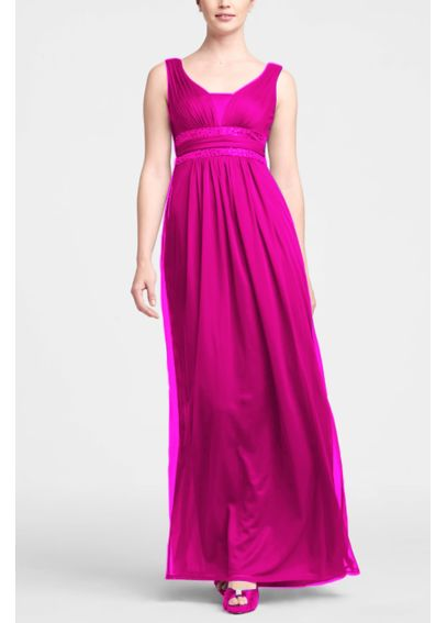Sleeveless Long Dress with Double Banded Detail F15136