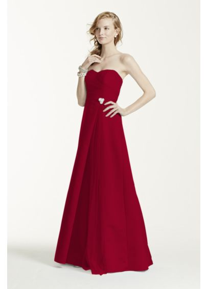 Strapless Satin Long Dress with Side Brooch F15137