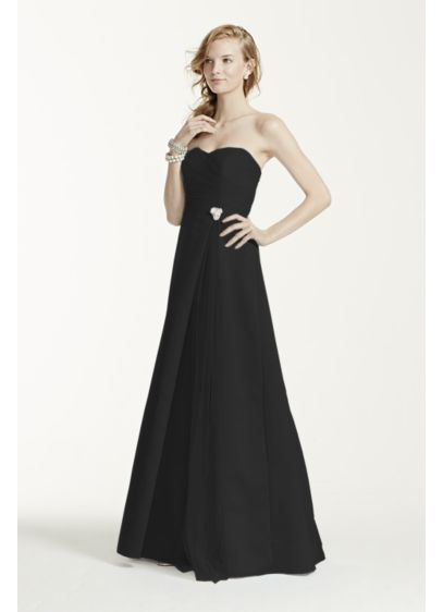 Long Black Structured David's Bridal Bridesmaid Dress