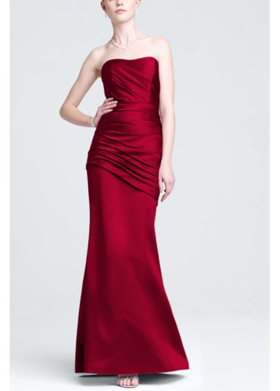 Long Strapless Satin Dress with Side Ruching F15142