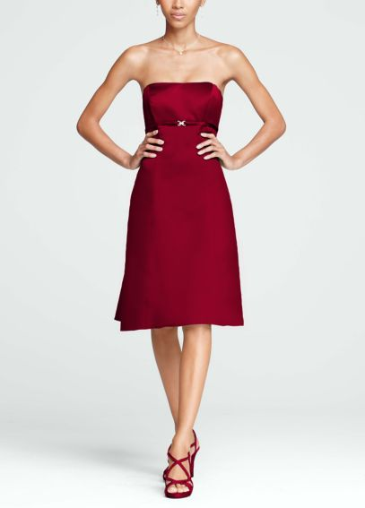Strapless Satin Dress with Pleated Back and Brooch F15401