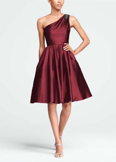 Short One Shoulder Taffeta Dress with Beading F15409