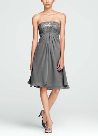 Short Strapless Dress with Sequin Bodice F15419