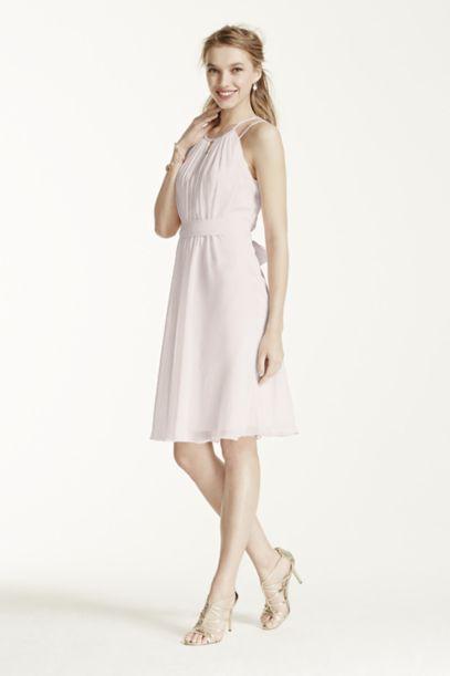 Short Sleeveless Chiffon Dress with Beaded Straps | David's Bridal