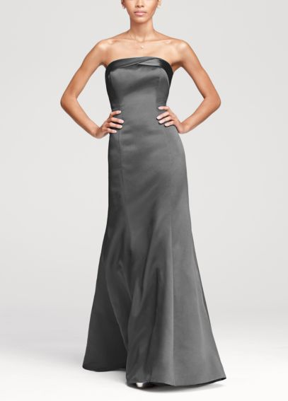 Strapless Dress with Cuff Neckline and Corset Back F15429