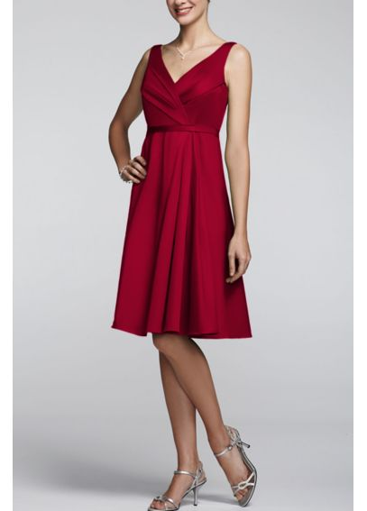 Sleeveless V Neck Cotton Sateen Dress F15450