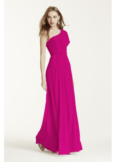 Asymmetrical Neck Beaded Dress with Side Slit F15519