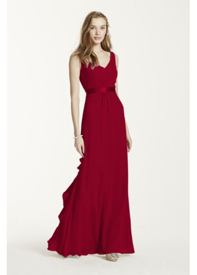 Sleeveless Chiffon Dress with Ruffled Back Detail F15530